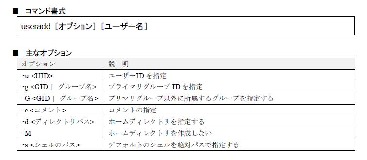 図7 useradd コマンド